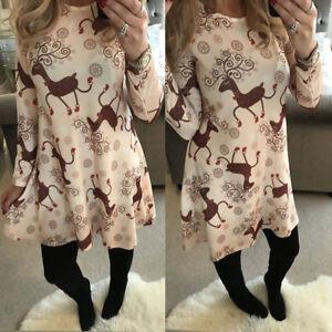 Women-Christmas-Dress-Long-Sleeve-Mini-Dress-Party-Evening-Sweater-Shirt-Dress