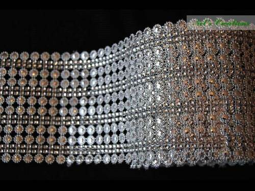 Silver and black trim with clear rhinestones border,embellishments 110 mm width