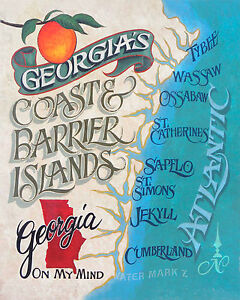 Map Of Georgia Barrier Islands.Georgia Barrier Islands Map Style Poster Print Decor Vintage Style