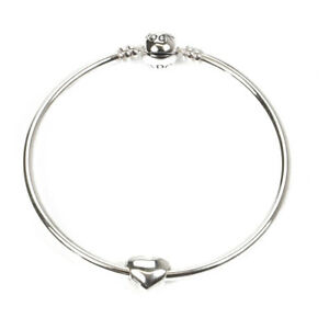 Pandora Moments Sterling Silver Charm Bangle 590713 With Heart Charm 790137 nM3x18