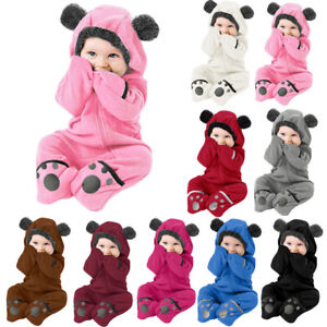 Infant Toddler Baby Girl Boy Cartoon Ears Hoodie Romper Clothes Fleece Jumpsuits