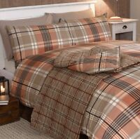 Industrial Tartan Checked Orange King Size Country Duvet Pillowcase Set Bedding