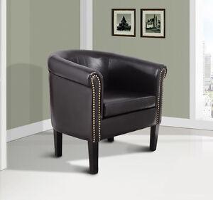 Elegant Faux Leather Tub Barrel Club Arm Chair W