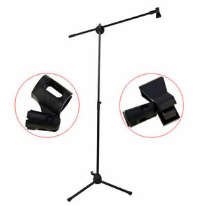 Microphone-Stand-Heavy-Duty-With-Mic-Clip-Black-Adjustable-Holder-Boom-Mic