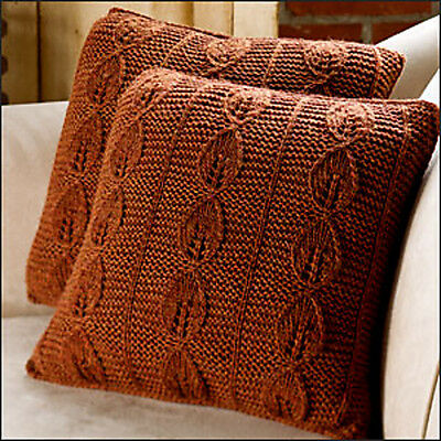 "Lovely Leaf  Motif Cushion ~ 16"" or  20"" ~  Aran Knitting Pattern Easy to Make"