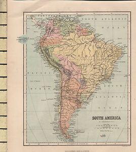 Peru Karte Südamerika.Details Zu C1880 Viktorianisch Karte Südamerika Brasilien Peru Chile Falkland