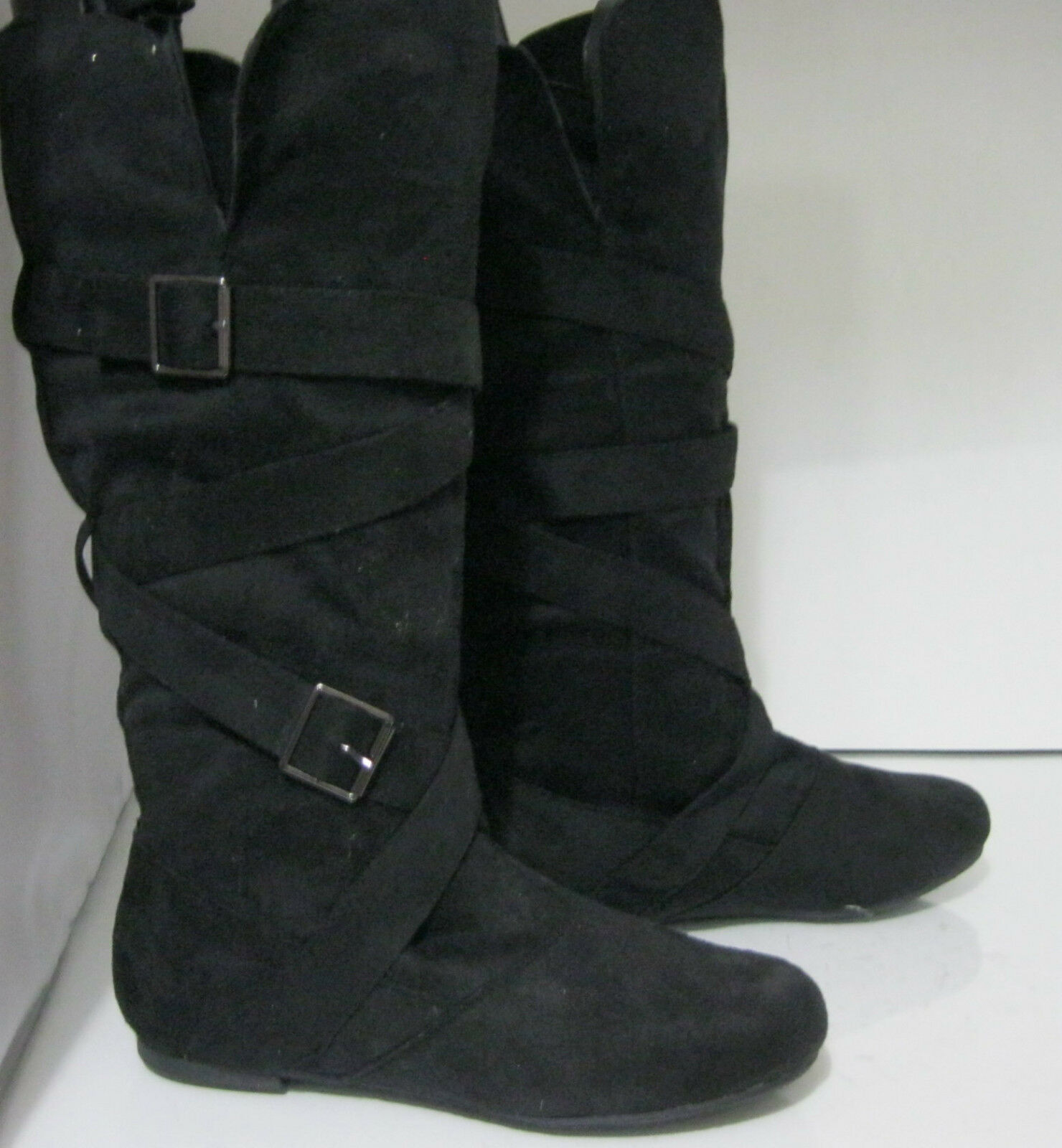 NEW Womens Black Round Toe Side Buckles Sexy Mid-Calf Boot Size 6.5
