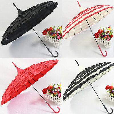 4Colors NEW Hot Long Umbrella Anti UV Princess Pagoda For Wedding