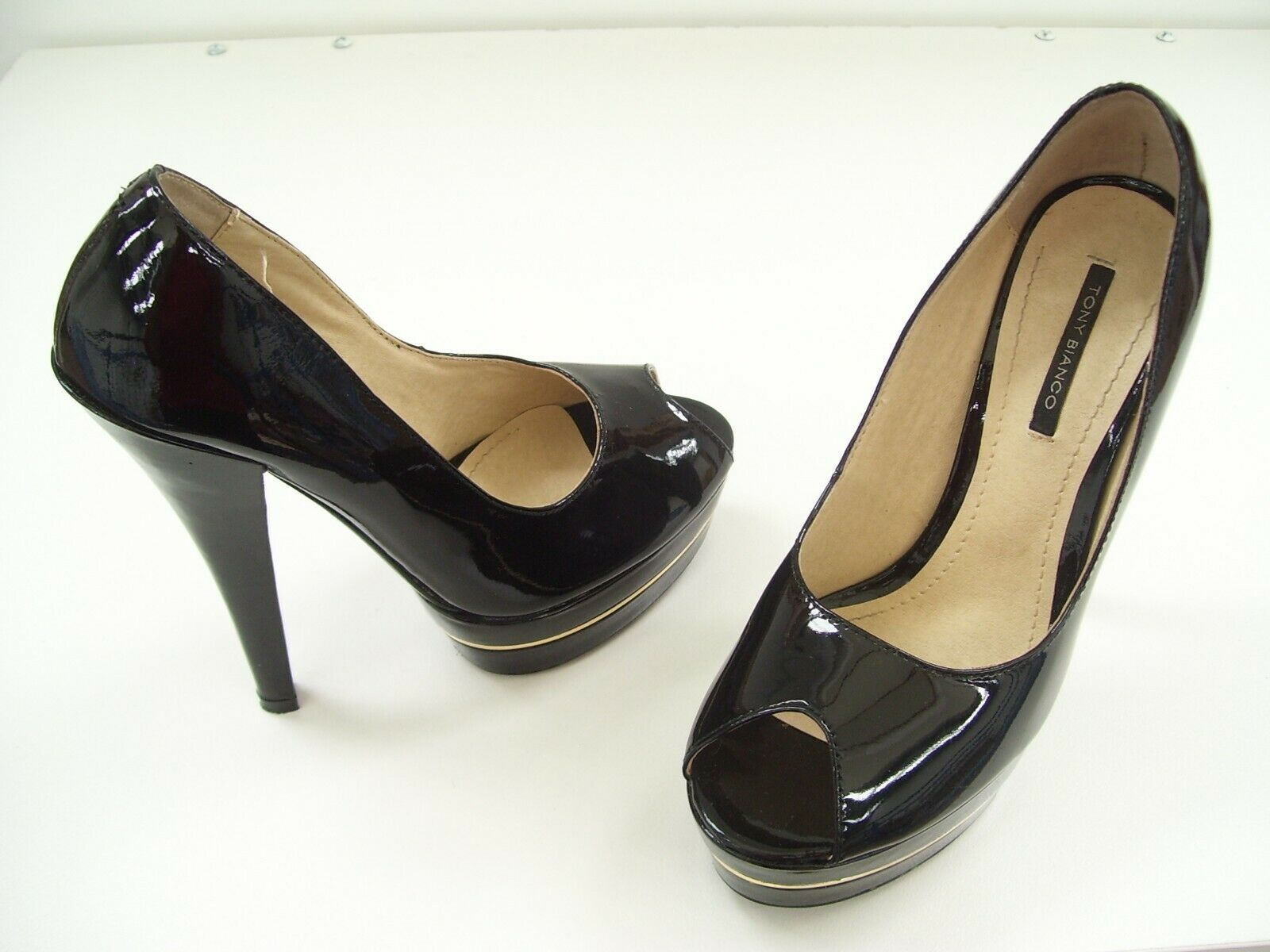 TONY BIANCO LADIES schwarz PATENT PEEP TOE leder schuhe fersen DRESS FORMAL Größe 6