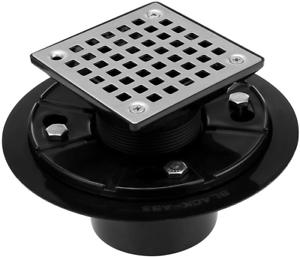 ABS Adjustable Shower Drain Base,Lower Square Design Tile-In Floor Shower Drain