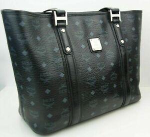 Details zu MCM Damen Tasche Handtasche Shopper schwarz grau silberfarben Logoprint