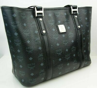 MCM Damen Tasche Handtasche Shopper schwarz grau silberfarben Logoprint | eBay