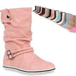 Bequeme Damen Stiefel Flache Schlupfstiefel 70991 Boots Trendy Neu
