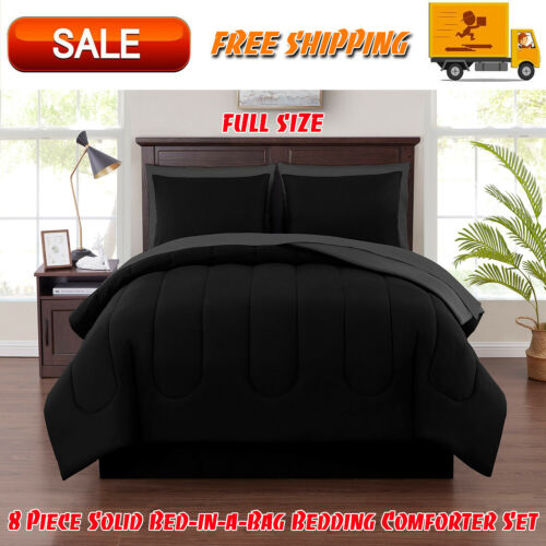 Black 8 Piece Solid Bed-in-a-Bag Bedding Comforter Set with BONUS Sheets Full