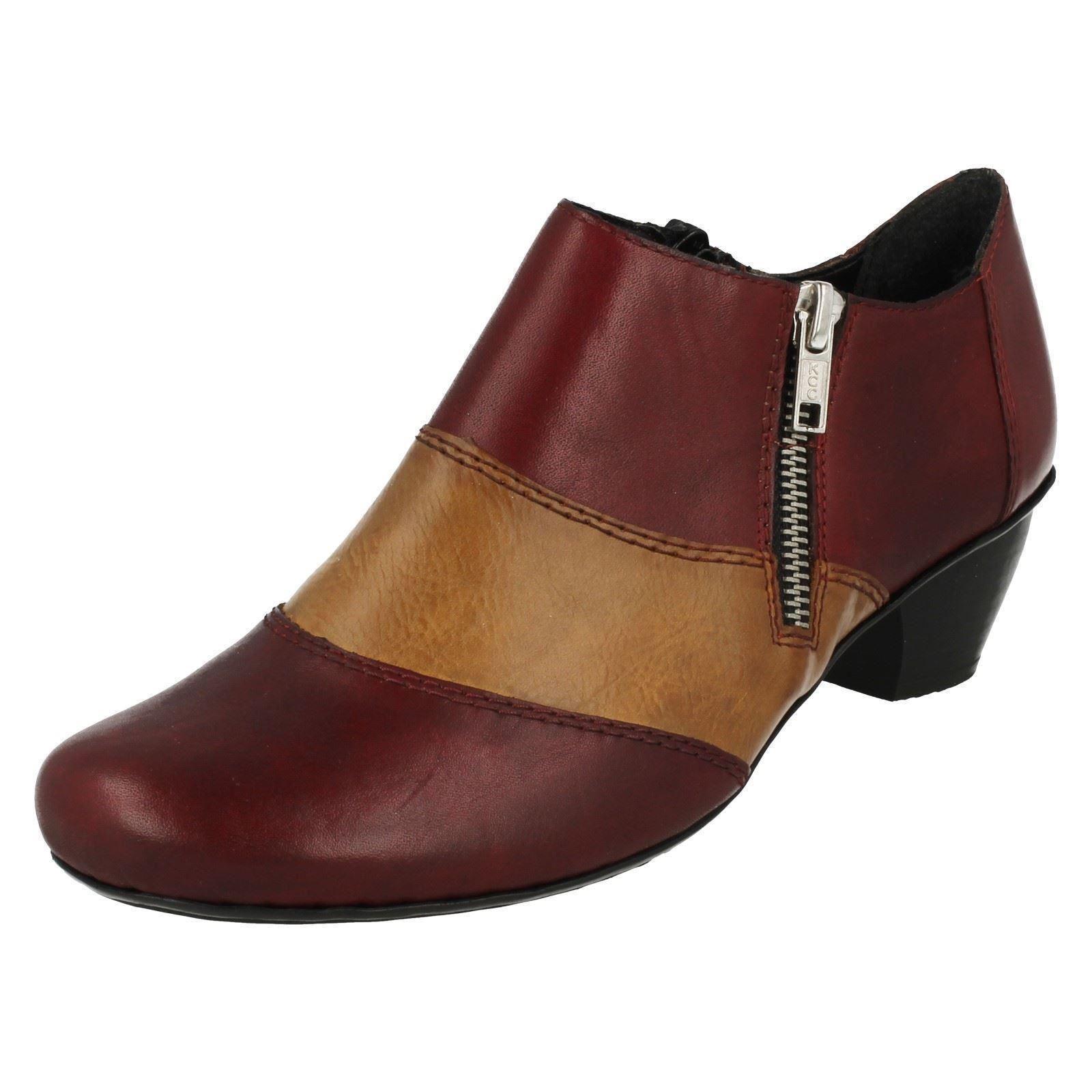 Damen Rieker 47674 rot Kombination Leder Smart Reißverschluss Hose Schuhe
