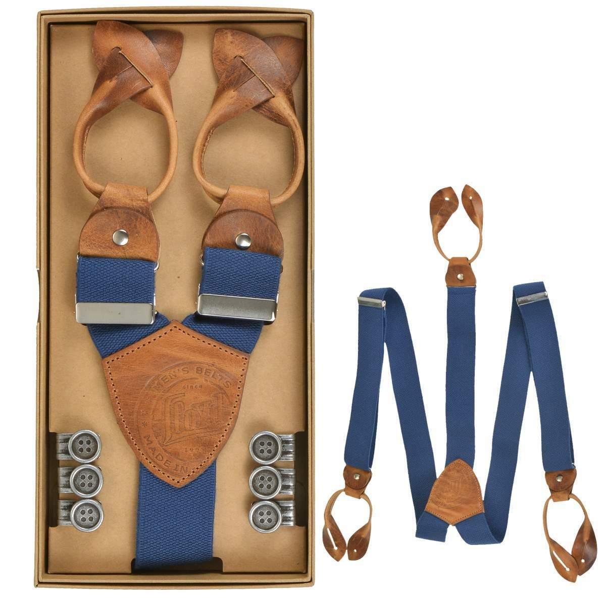 Lloyd Hosenträger Y Form Holländer 120cm 35mm Leder mit Knöpfen 6726 royal blau