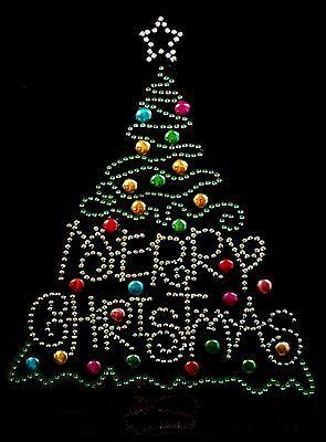 "Rhinestone Iron on Transfer Hot Fix Bling /""Merry Christmas Deer Bling/"""