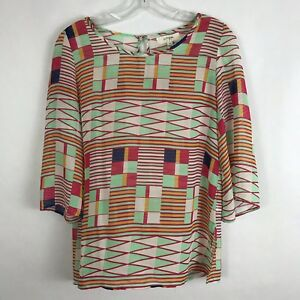 Umgee-USA-Womens-Shirt-Size-Small-Multi-Color-Sheer-3-4-Sleeve-Blouse-Top