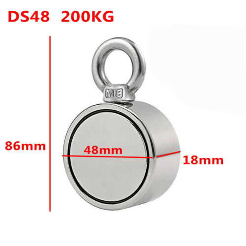 200//300//500KG Double Side Neodymium Metal Magnet Detector Fishing Kit /& 10M Rope