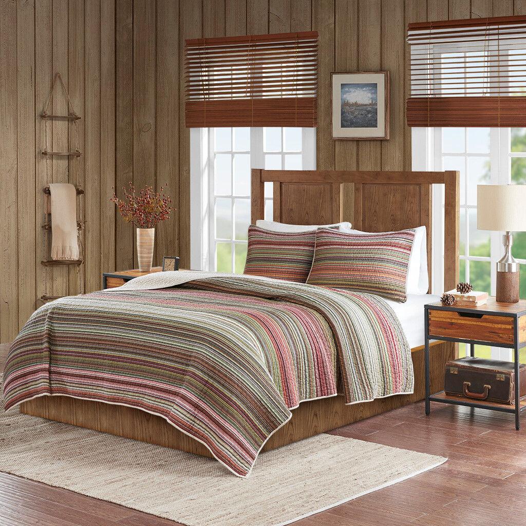 100% Cotton Multi-colors Stripes Quilt Coverlet Cal King Queen 3 pcs Set New
