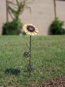 Image Is Loading 21 034 Tall Metal Sunflower Garden Stake Yard