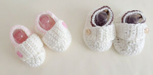 NEW-Baby-Boy-Unisex-Newborn-Crochet-Booties-Shoes-100-Handmade-brown-0-6-12m