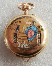 HUNTER LADIES FOB POCKET WATCH 18K GOLD  WITH ROSE DIAMONDS CIRCA 1900