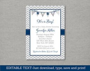 Image Is Loading Navy Blue Amp Grey Chevron Baby Shower Invitation