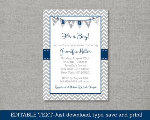 Navy Blue /& Grey Chevron Baby Shower Invitation Printable Editable PDF