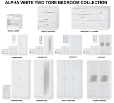 Alpha White High Gloss Two Tone | Modern Bedroom Furniture Units & Trio  Sets 3 Door Mirrored Set