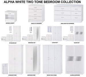 Details about Alpha White High Gloss Two Tone | Modern Bedroom Furniture  Units & Trio Sets