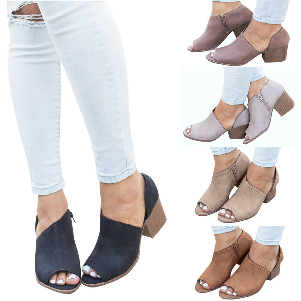 WOMEN FASHION PEEP TOE SANDALS LADIES CHUNKY BOOTS BLOCK MED LOW HEEL SHOES P1