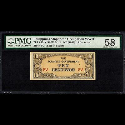 PHILIPPINES 10 CENTS OCCUPATION 1942 P 104 UNC