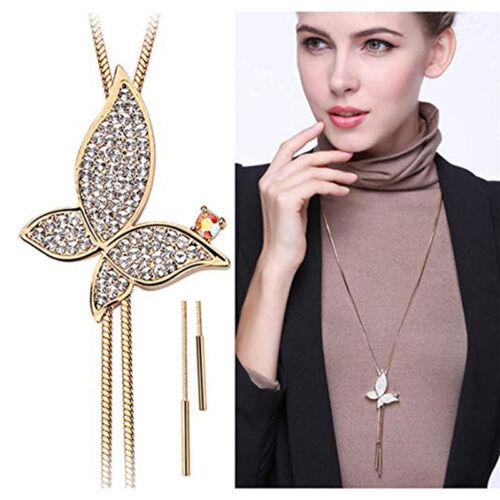 Rhinestone Butterfly Shape Long Sweater Necklace Stylish Crystal Pendant J
