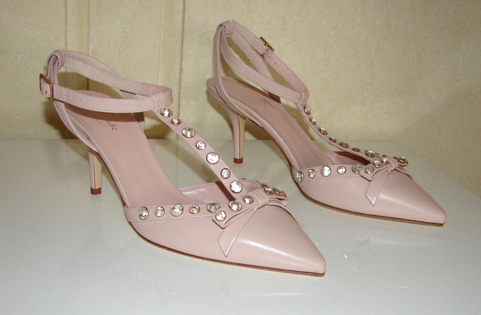 NIB Kate Spade sz 8.5 Julianna petal Rosa nappa leather rhinestone bow schuhe