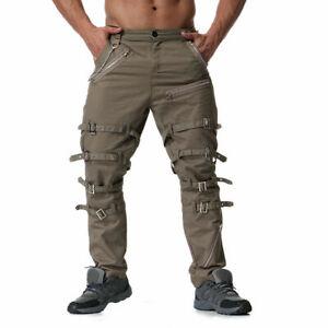 Mens Goth Strap Bondage Pants Chain Zipper Cargo Trousers Steampunk Retro