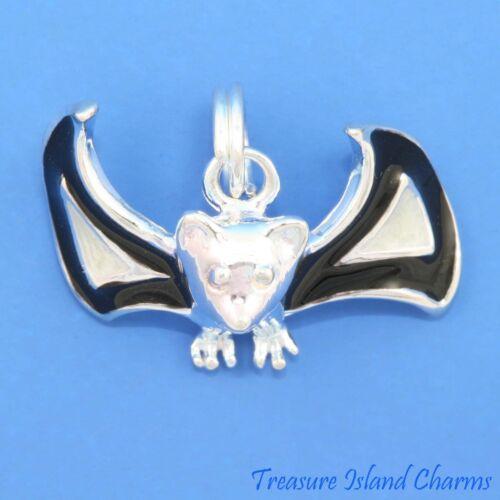 Émail Halloween Flying Bat 3D .925 Solide Argent Sterling Charme traditionnel