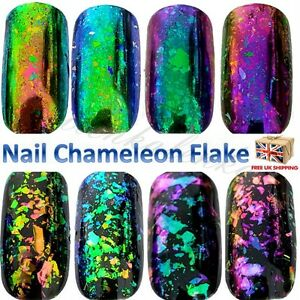 Chameleon nail flakes mirror chrome powder 8 colours changing nail art sequins ebay - Polvere specchio unghie ...