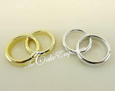 Oro O Argento Matrimonio Anelli Plastica Decorazione Per Torta-