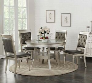 Zandra 5pc Round Metallic Silver Finish Wood Glass Top Leather