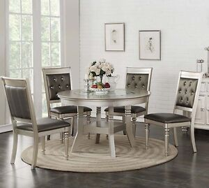 Image Is Loading Zandra 5pc Round Metallic Silver Finish Wood Gl
