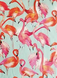 1metre-Cotton-Furnishing-Fabric-Large-Flamingo-Tropical-Birds-Print-150cm-wide