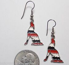 Wolf Hook Pierced Earrings, Red/White/Black Enamel Zig-Zag Stripes, Dangle