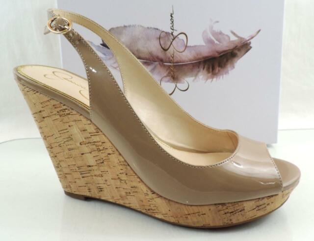 8d7428f8b06 Jessica Simpson Jeniri Platform Wedge Open Toe Sandals HEELS Nude Patent  Size 10