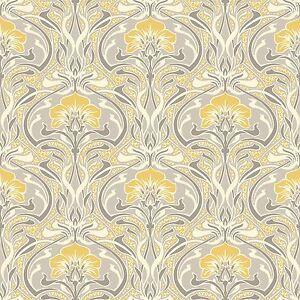 Archives-Flora-Nouveau-Papier-Peint-Jaune-Couronne-M1195-Retro-Floral-Neuf