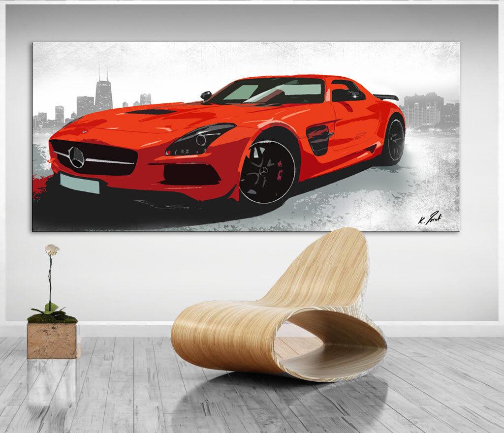 Wandbilder Auto Sportwagen Rot Pop Art Leinwand Kunst Bild Kunstdruck D1152