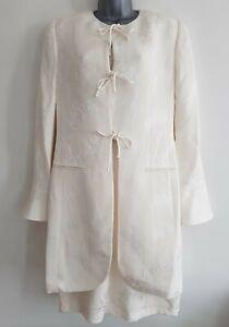 Vintage-LOUIS-FERAUD-Women-039-s-Ivory-Leaf-Pattern-Silk-Blend-Dress-Suit-Size-UK-12