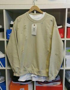Distressed Ripped Sand Tan Sweatshirt By 9deuce Not Lmdn Kanye Yeezy