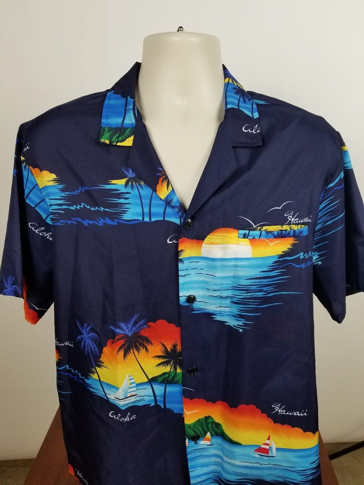 Large Aloha Hawaiian Shirt Casual Wear Hawaii blu Aloha Sailing Sailing Sailing Boats EUC ba17c2