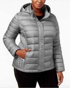 c7cd624fafa 32 Degrees Plus Size Hooded Packable Down Puffer Coat Smoke Grey 0X ...